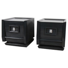 Pair of Lacquered Mid-Century Modern Nightstands