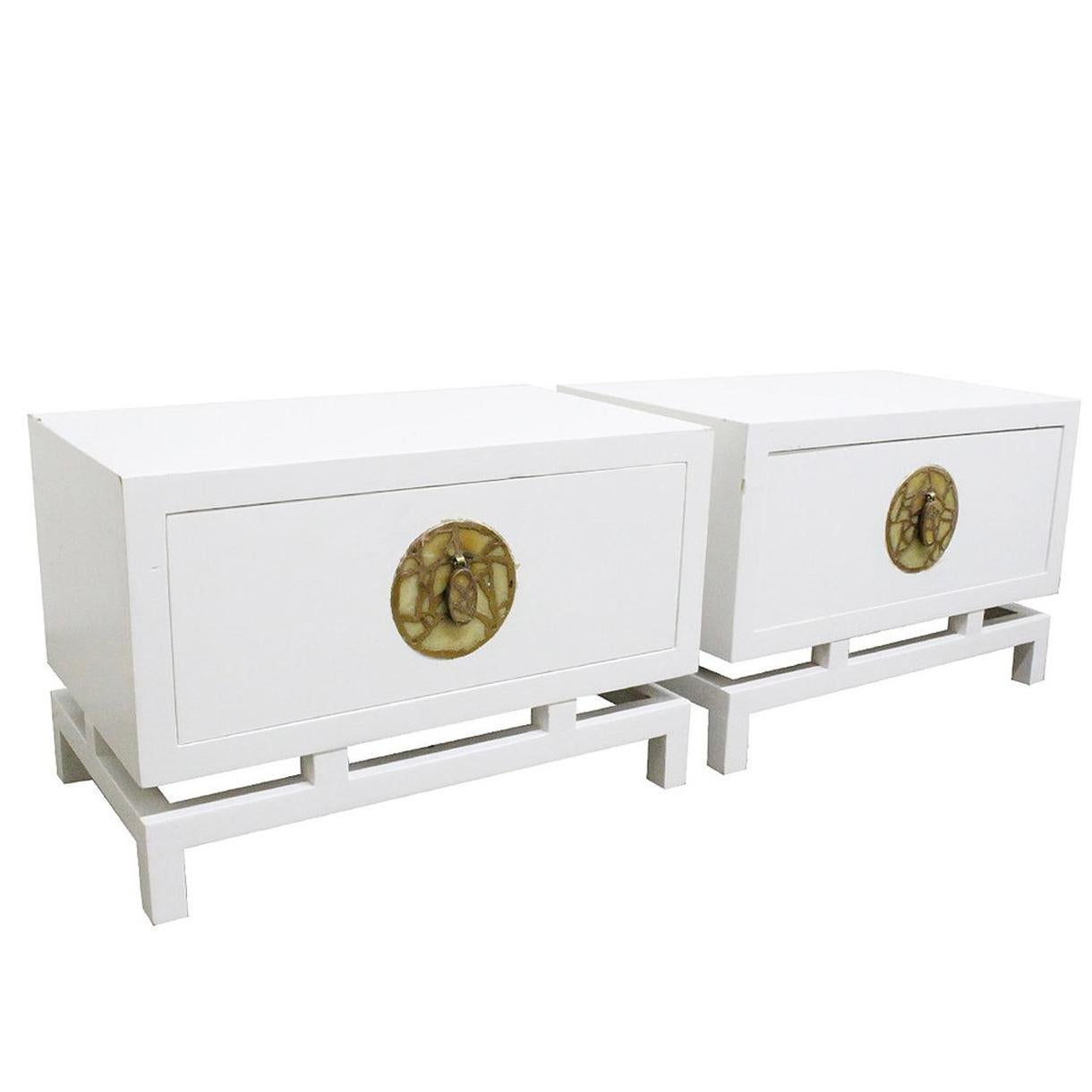 Pair of Lacquered Nightstands/Side Tables by Frank Kyle, Pepe Mendoza Hardware