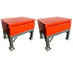 Pair of Lacquered Side Tables by Dal Vera, Italy, 1980s