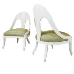 Pair of Lacquered Spoon Back Chairs by Baker