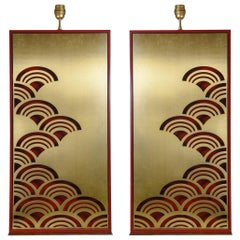 Pair of Lacquered Wood and Brass Lamps Attributed to Paco Rabane