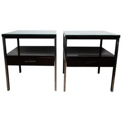 Pair of Lacquered Wood Tables with Chrome Details, by Paul McCobb