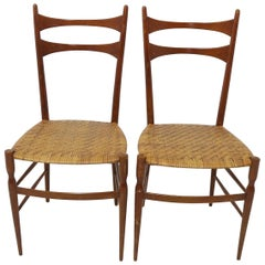 Pair of Ladder Back Chairs with Woven Rattan Seats in the Manner of Gio Ponti