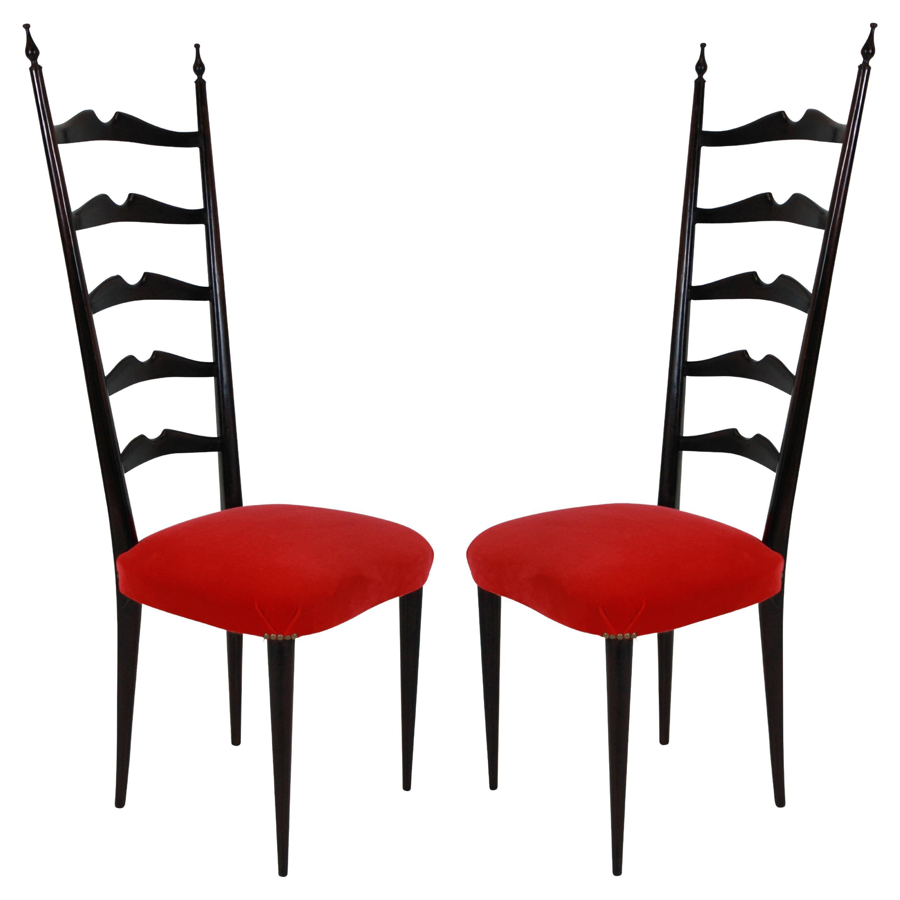 Pair of Ladder Back Paolo Buffa Style Chairs