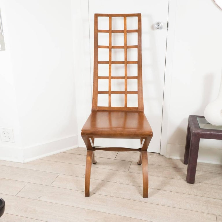 Pair of ladder back wood chairs.