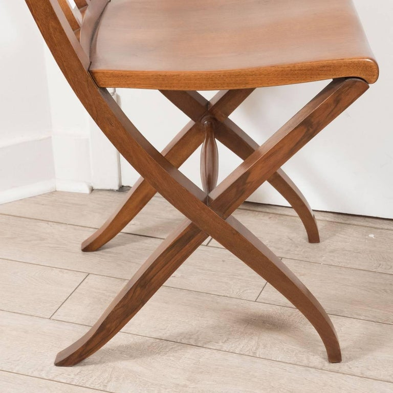 Italian Pair of Ladder Back Wood Chairs For Sale