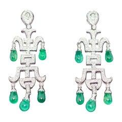 Pair of Ladies Diamond and Emerald Chandelier Earrings, 18 Karat White Gold
