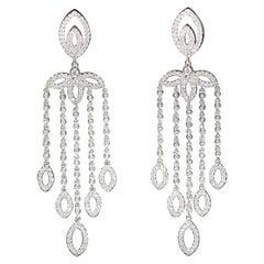 Pair of Ladies Diamonds Chandelier Earrings, 18 Karat White Gold