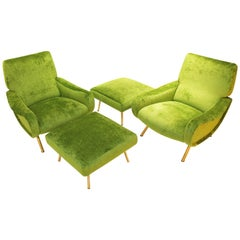 Pair of 'Lady' Armchairs and Ottoman by Marco Zanuso for Arflex, Italy, 1951