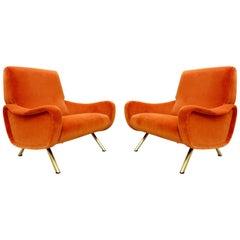 Pair of 'Lady' Armchairs, Marco Zanuso for Arflex, New Orange Velvet Ulphostery