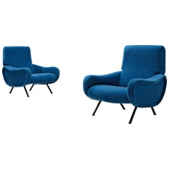 Pair of 'Lady' Lounge Chairs by Marco Zanuso Reupholstered in Blue Mohair