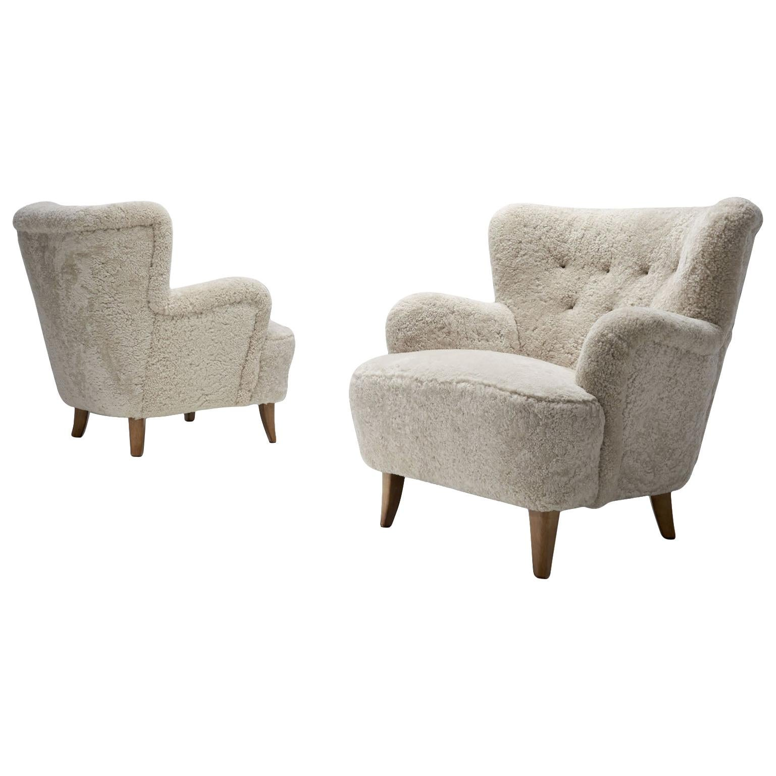 """Pair of """"Laila"""" Armchairs by Ilmari Lappalainen for Asko, Finland, 1948"""