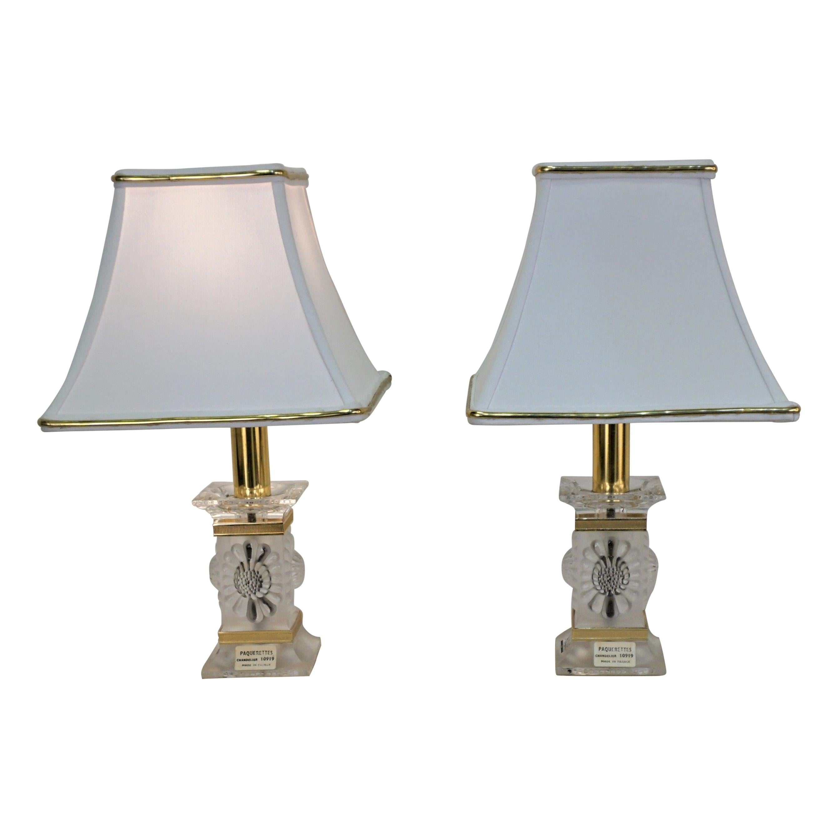 Pair of Lalique Crystal Table Lamps