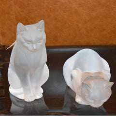 Pair of Lalique Frosted Glass Cats