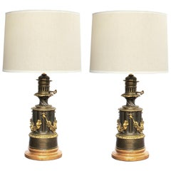 Pair of Lampe a Moderateur, Paris Louis Philippe Bronze Oil Lamps; Electrified