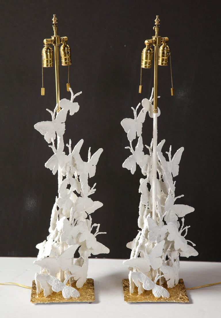 Table Lamps, Butterflies, White Plaster and Gold Leaf Base, Pair of Lamps For Sale 4