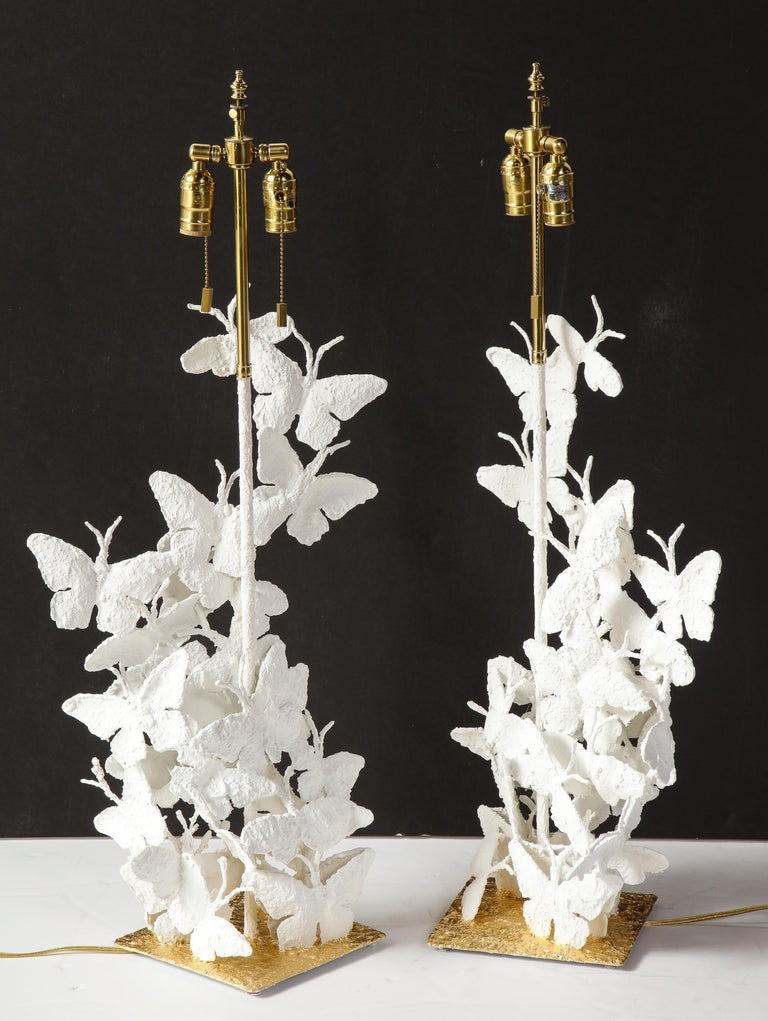 Table Lamps, Butterflies, White Plaster and Gold Leaf Base, Pair of Lamps For Sale 5