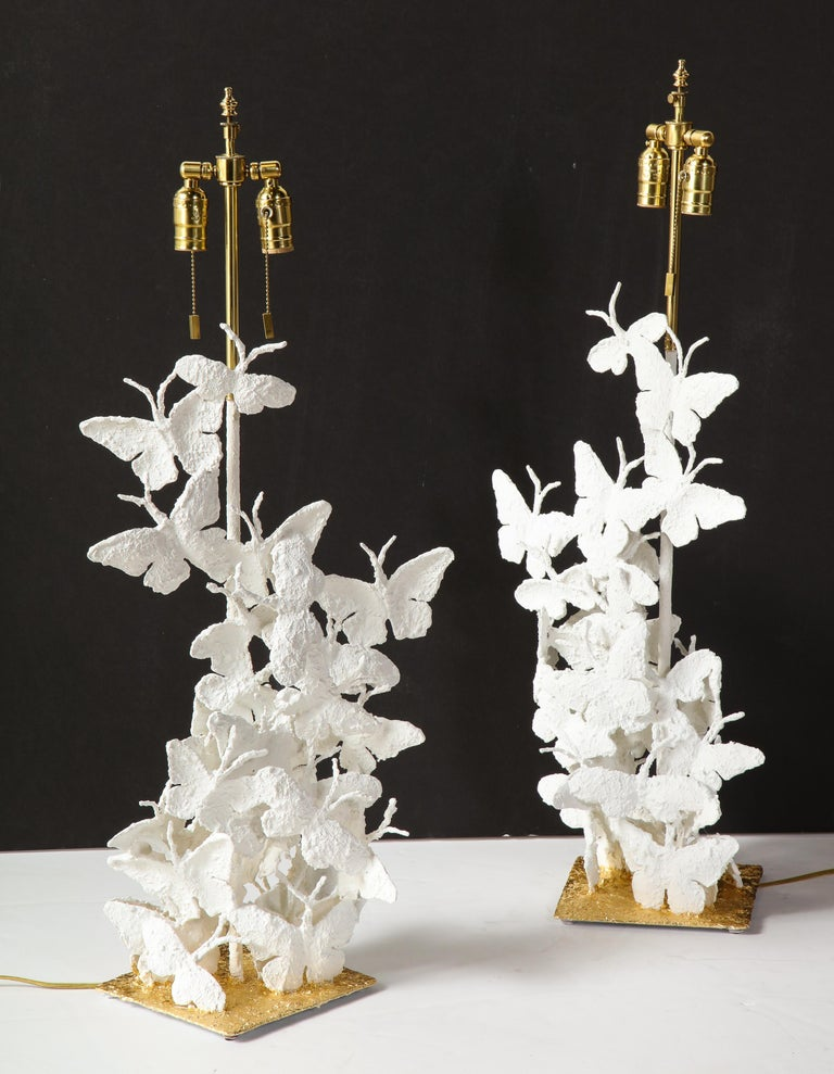 Table Lamps, Butterflies, White Plaster and Gold Leaf Base, Pair of Lamps For Sale 6