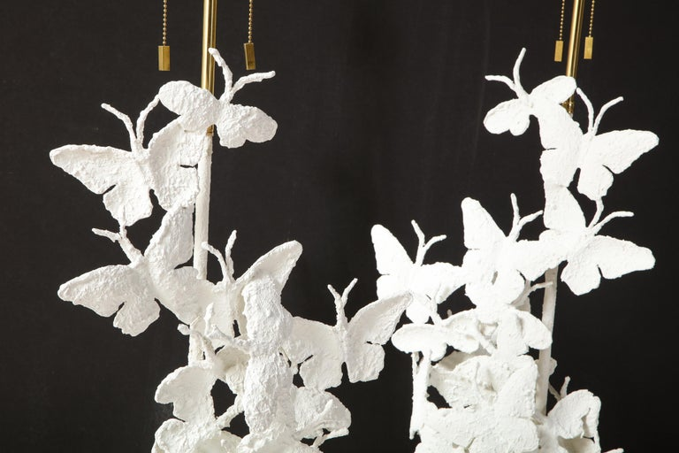 Table Lamps, Butterflies, White Plaster and Gold Leaf Base, Pair of Lamps For Sale 7