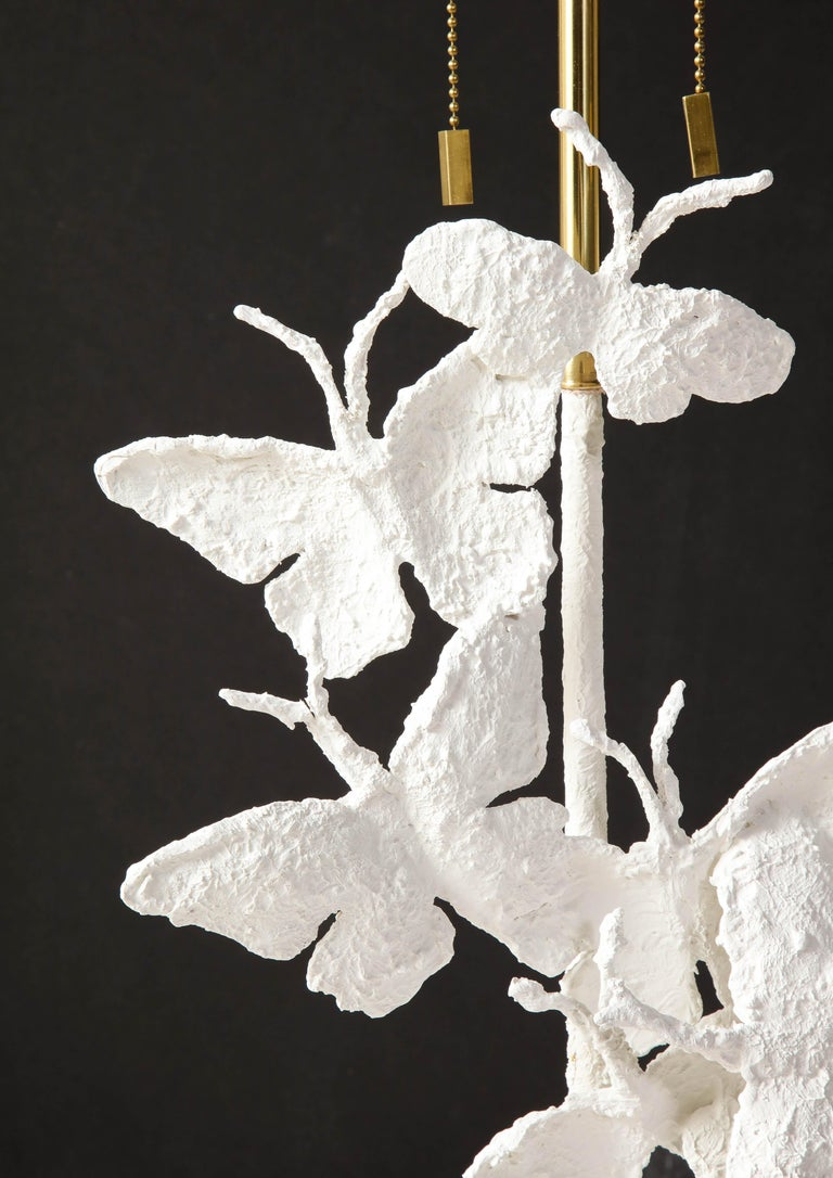 Table Lamps, Butterflies, White Plaster and Gold Leaf Base, Pair of Lamps For Sale 8