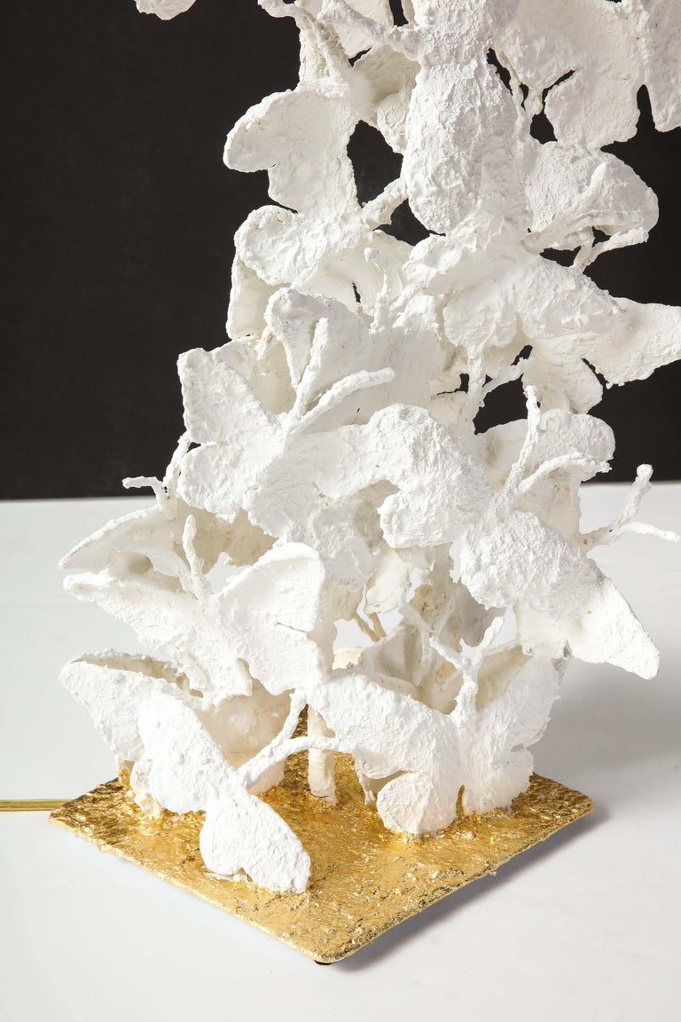 Table Lamps, Butterflies, White Plaster and Gold Leaf Base, Pair of Lamps For Sale 9
