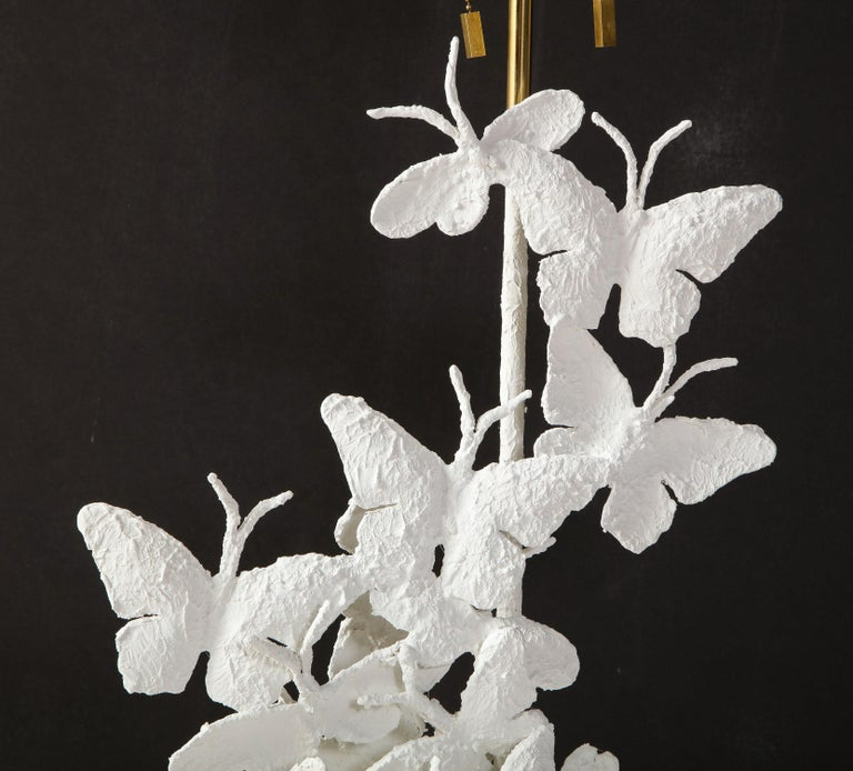Table Lamps, Butterflies, White Plaster and Gold Leaf Base, Pair of Lamps For Sale 11