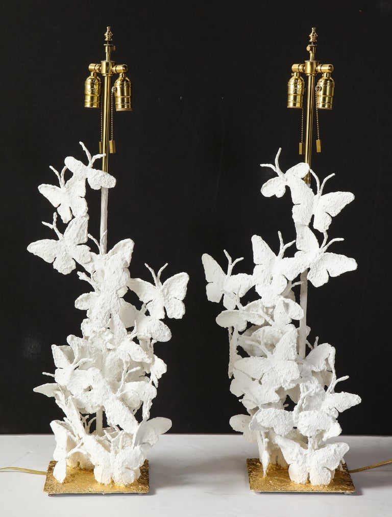 Modern Table Lamps, Butterflies, White Plaster and Gold Leaf Base, Pair of Lamps For Sale