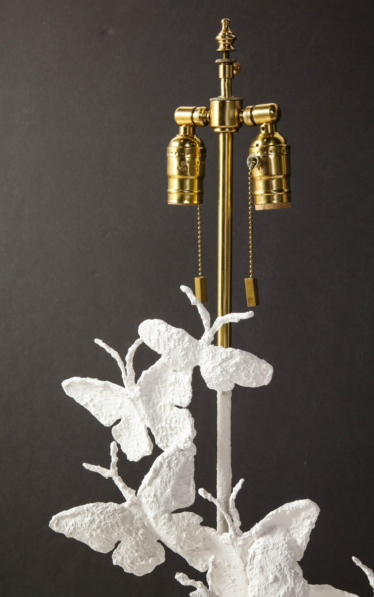 Hand-Crafted Table Lamps, Butterflies, White Plaster and Gold Leaf Base, Pair of Lamps For Sale
