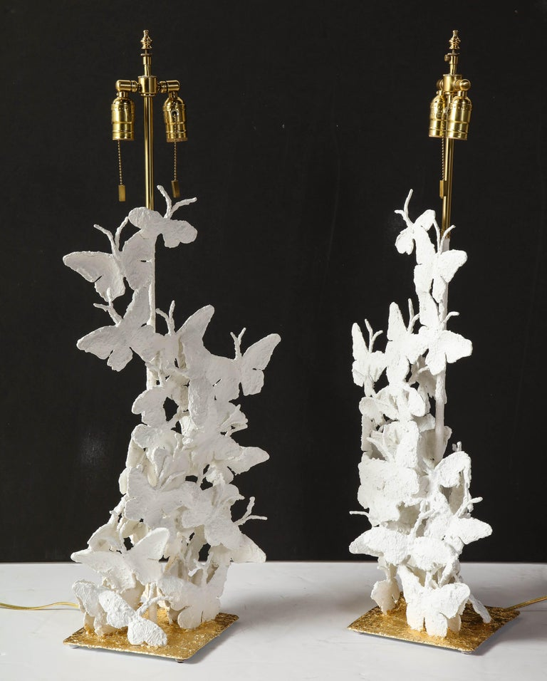 Table Lamps, Butterflies, White Plaster and Gold Leaf Base, Pair of Lamps For Sale 2