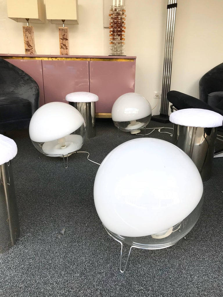Rare big largest size of the model, diameter 40 centimeters! Blown Murano glass, chrome metal base. By the designer Angelo Mangiarotti for his editor Skipper. Can be use as floor lamps.  Price by Lamp.
