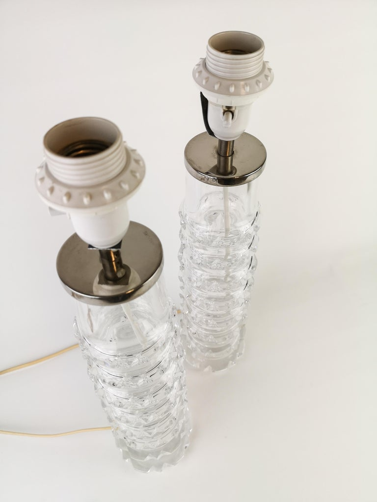 Swedish Pair of Lamps by Carl Fagerlund for Orrefors Signed For Sale