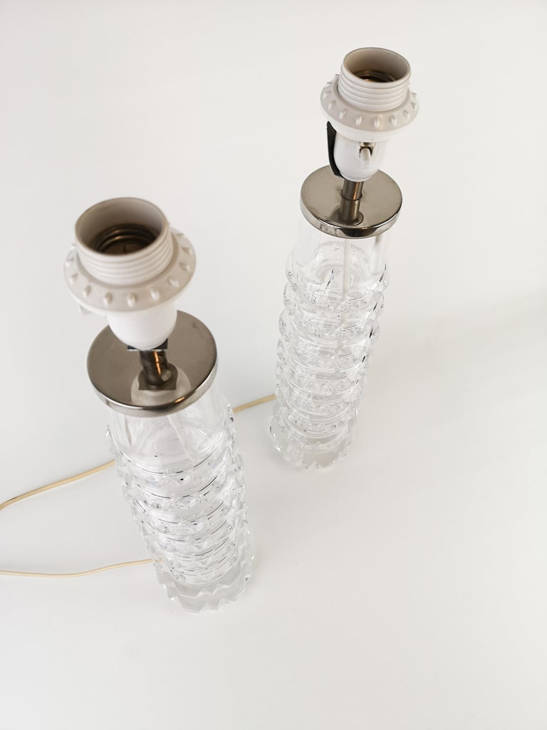 Hand-Crafted Pair of Lamps by Carl Fagerlund for Orrefors Signed For Sale
