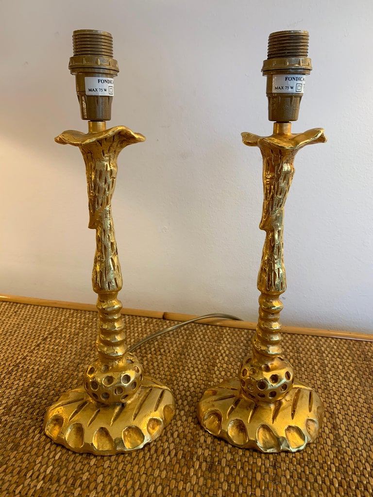 Pair of lamps gilt metal bronze style by Mathias for Fondica. Sign Mathias. Famous artist who have worked for the manufacture like Nicolas Dewael, Stéphane Galerneau, Pierre Casenove. In the style of Garouste et Bonetti, Giacometti, Maison Jansen,