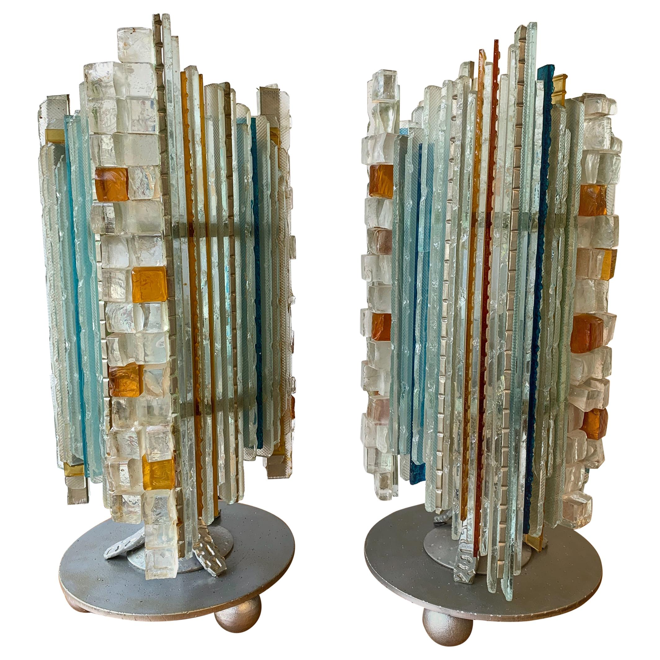Pair of Lamps Glass and Wrought Iron by Biancardi & Jordan Arte, Italy, 1970s