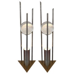 Pair of Lamps Glass Ball Sculpture by RW Manufaktur, Germany, 1980s