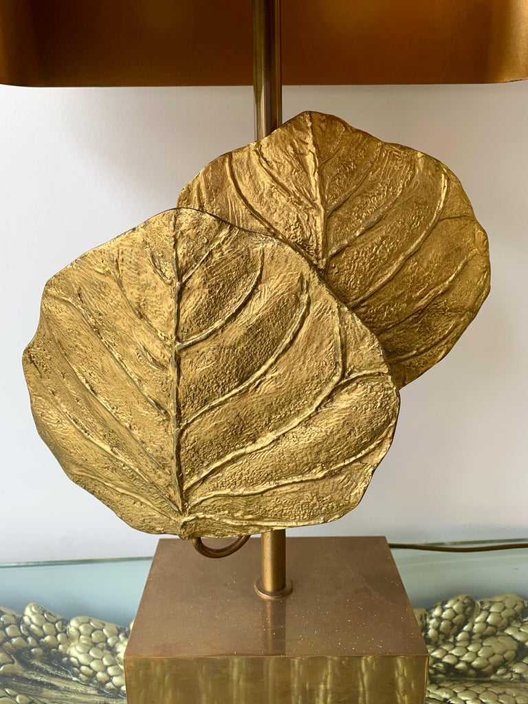 Pair of lamps iconic model Guadeloupe by Chrystiane Charles for the famous manufacture Maison Charles, Paris, France. All in gilt bronze with their original brass lampshade. Each leaf are numbered and sign. Base stamp CHARLES MADE IN FRANCE. Iconic