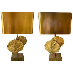 Pair of Lamps Guadeloupe by Maison Charles, Bronze, 1970s, France