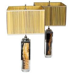 Pair of Lamps in Bakelite and Chromed Metal, 1970s