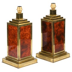 Pair of Lamps in Bakelite and Gilt Brass, 1970s