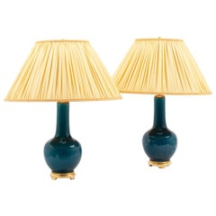 Pair of Lamps in Blue Earthenware and Giltwood, 1950s