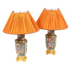 Pair of Lamps in Canton Porcelain, circa 1880