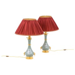Pair of Lamps in Celadon Porcelain and Gilt Bronze, circa 1880