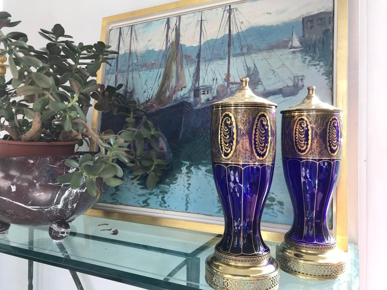 Gilt Pair of Lamps in Cobalt Blue, Art Deco For Sale