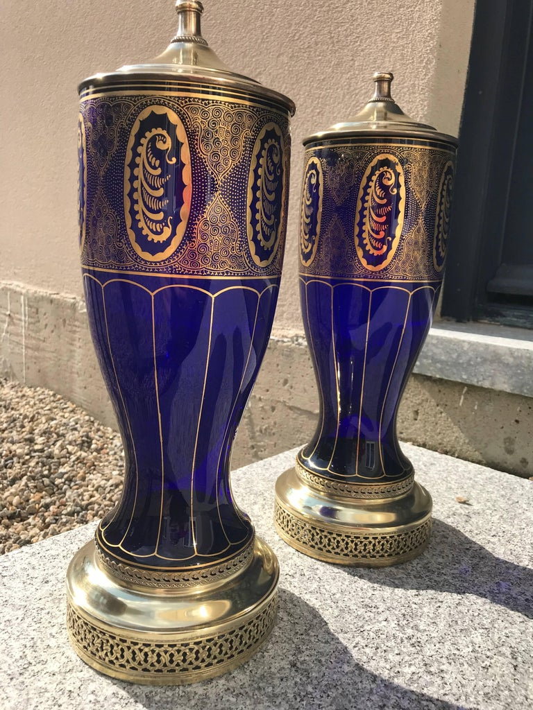 Pair of Lamps in Cobalt Blue, Art Deco In Good Condition For Sale In Manchester, MA