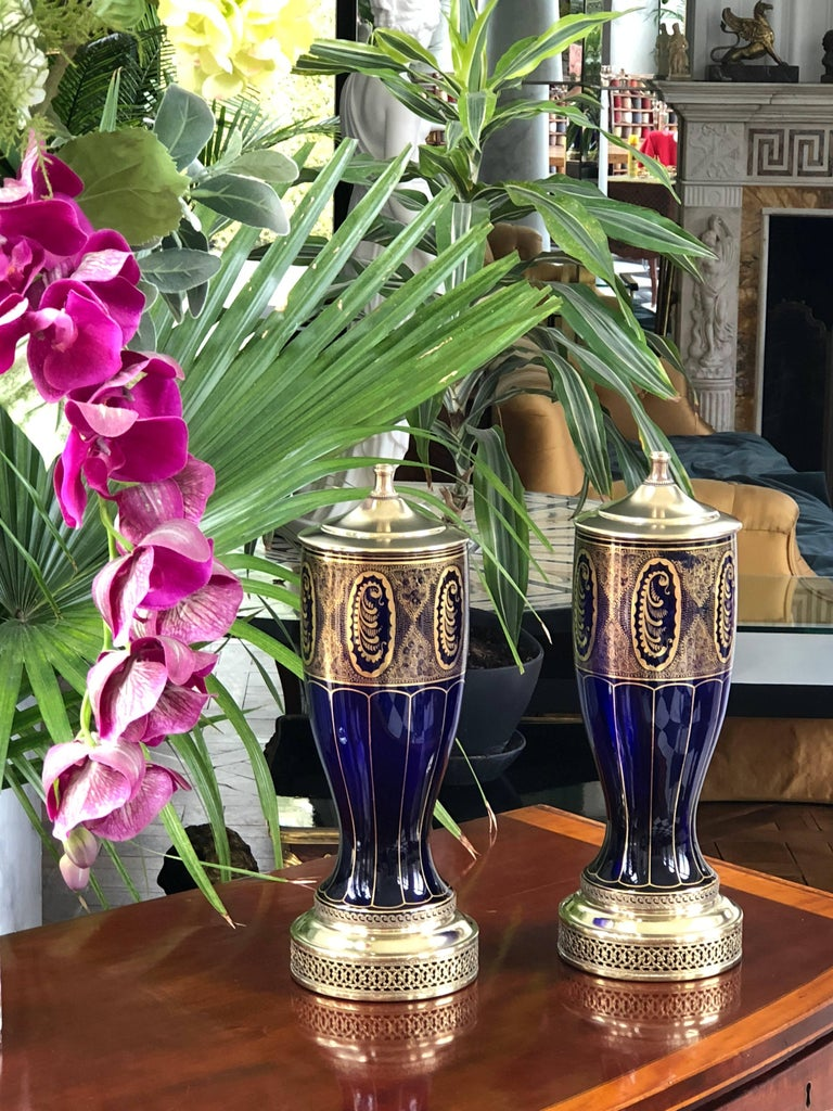 Early 20th Century Pair of Lamps in Cobalt Blue, Art Deco For Sale