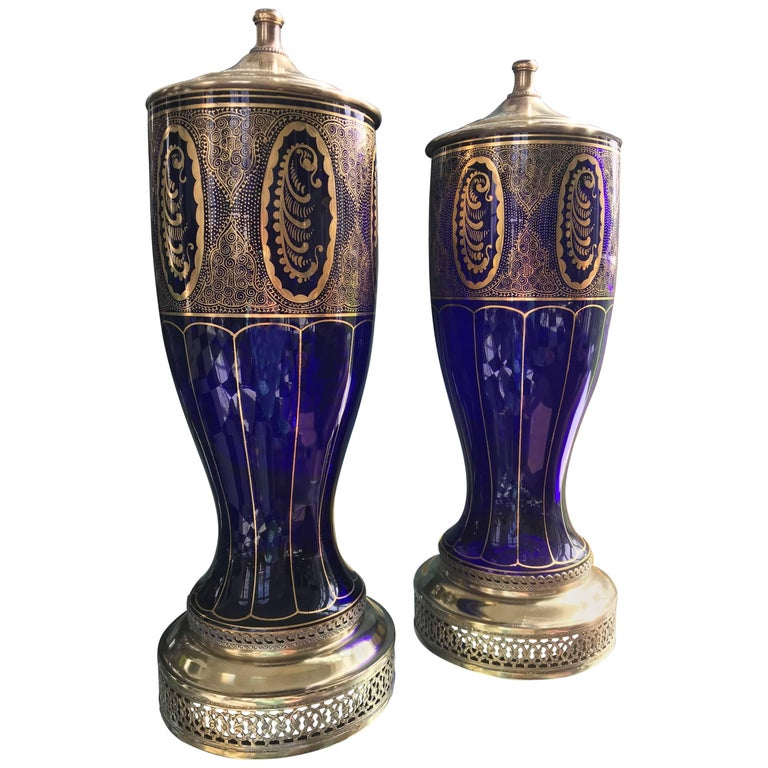Pair of Lamps in Cobalt Blue, Art Deco For Sale