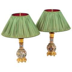 Pair of Lamps in Gien Porcelain, 19th Century