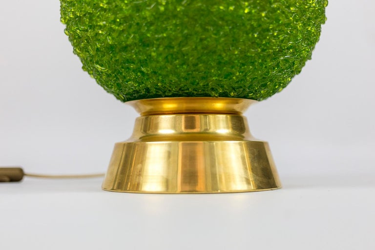 Late 20th Century Pair of Lamps in Green Lucite and Gilt Brass, 1970s For Sale