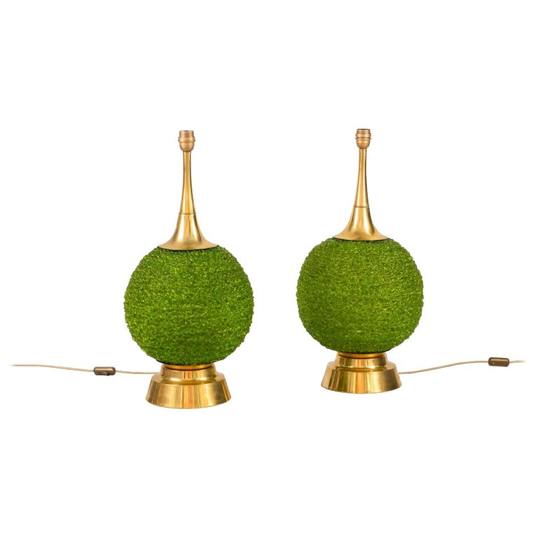 Pair of Lamps in Green Lucite and Gilt Brass, 1970s For Sale