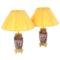 Pair of Lamps in Imari Porcelain and Gilt Bronze, 19th Century